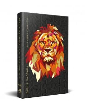 Bíblia King James Atualizada - capa dura slim - Leão geométrico