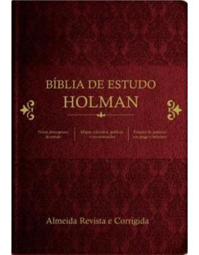 Bíblia de Estudo Holman - capa luxo vinho