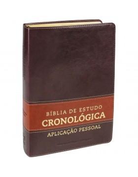 Bíblia de Estudo Cronológica Aplicação Pessoal - capa luxo - Castanho claro e escuro