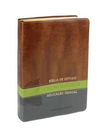 Bíblia de Estudo Cronológica Aplicação Pessoal - capa luxo - Castanho e verde