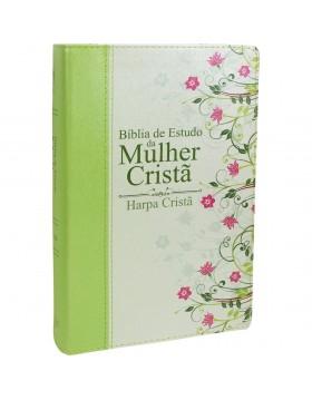 Bíblia de Estudo da Mulher Cristã - com harpa - média - capa luxo verde