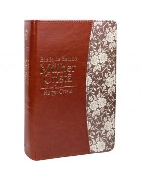 Bíblia de Estudo da Mulher Cristã - com harpa - média - capa luxo castanha