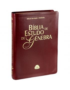 Bíblia de Estudo de Genebra - capa luxo - vinho nobre