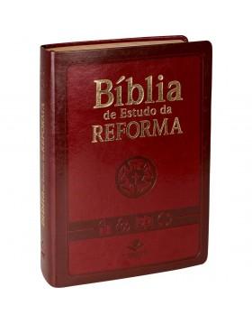 Bíblia de Estudo da Reforma - RA - capa luxo com índice digital - vinho