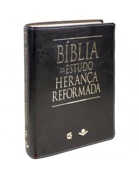 Bíblia de Estudo Herança Reformada - RA - capa luxo - preto e castanho