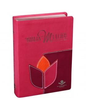 A Bíblia da Mulher - ARC - capa luxo - Flor pink