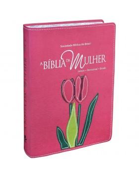 A Bíblia da Mulher - RA - letra grande - capa luxo - Goiaba