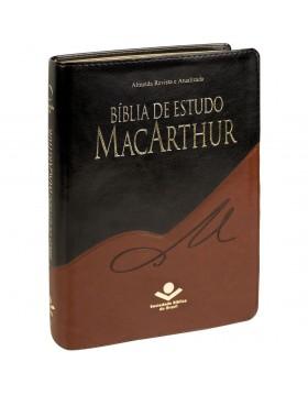 Bíblia de Estudo MacArthur - RA - capa luxo - preto e castanho