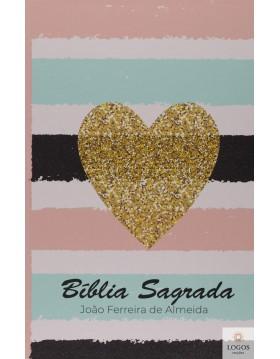 Bíblia Sagrada - ARC - capa semi-flexível - Coração listrado