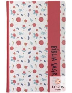 Bíblia Sagrada - ARC - capa semi-flexível - Pink floral com beiras artísticas
