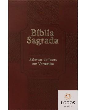 Bíblia Sagrada - ARC - com Harpa Avivada e Corinhos - letra ultra-gigante - capa luxo - Estrela bordô
