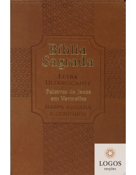 Bíblia Sagrada - ARC - com Harpa Avivada e Corinhos - letra ultra-gigante - capa luxo - Estrela castanho. 7908084604899