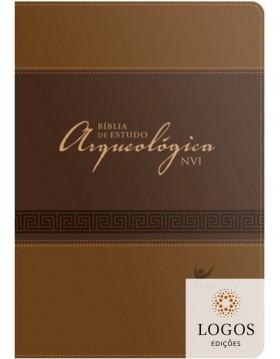 Bíblia de Estudo Arqueológica - NVI - Capa luxo castanho claro e escuro. 9788000003061