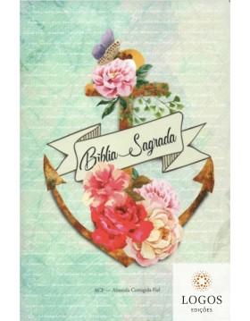 Bíblia Sagrada - ACF - capa dura - slim - Âncora flores. 9786588364253