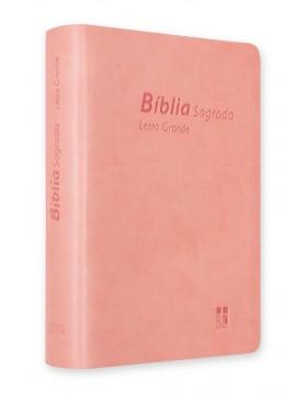 Bíblia com letra grande - capa rosa