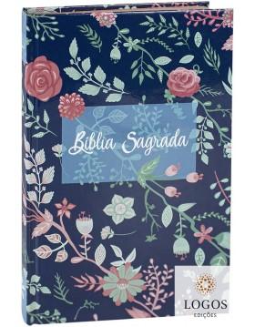 Bíblia Sagrada - ARC - capa dura - Flores beira cobre. 7899938414576