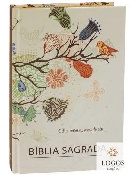 Bíblia Sagrada - ARC - capa dura - Flores beira laranja. 7899938414583