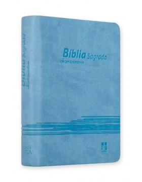 Bíblia - capa em camurça - azul claro com relevo