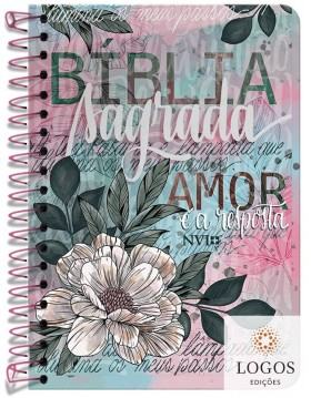 Bíblia Anote - NVI - letra grande - capa espiral - flor artística. 9786556551227