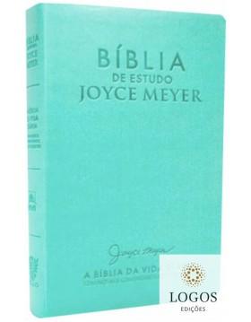Bíblia de Estudo Joyce Meyer - A Bíblia da Vida Diária - NVI - letra grande - capa luxo azul turquesa. 5600002032198
