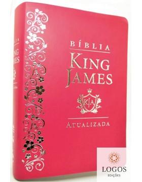 Bíblia de Estudo King James Atualizada - letra grande - capa luxo rosa. 6015924371338