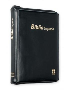 Bíblia com capa em couro sintético, fecho de correr - preta