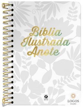Bíblia Anote Ilustrada - NVT - letra grande - capa espiral - tela branca. 9786556551289