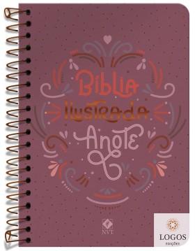 Bíblia Anote Ilustrada - NVT - letra grande - capa espiral - rosa brilhante. 9786556551296