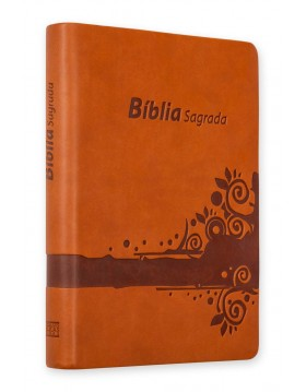 Bíblia - capa em camurça - mel com relevo