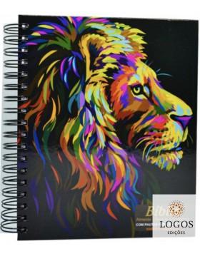 Bíblia Sagrada com Espaço para Anotações - ARC - letra grande - capa espiral - leão pintura perfil. 7908084608675