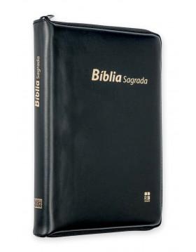 Bíblia com capa em couro sintético, fecho de correr e índice digital - preta