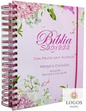 Bíblia Sagrada com Espaço para Anotações - ARC - letra grande - capa espiral - flor dália. 7908084608699