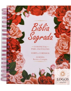 Bíblia Sagrada com Espaço para Anotações - ARC - letra grande - capa espiral - floral rosa. 7908084608705
