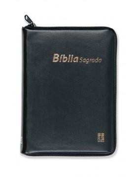 Bíblia com capa em vinil, fecho de correr - preta