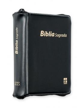 Bíblia com capa em couro sintético, fecho de correr - edição de bolso - preta