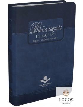Bíblia Sagrada - letra gigante - capa azul com beiras prateadas e índice digital. 7898521811785