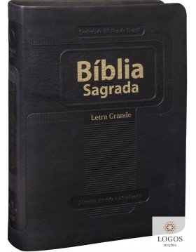 Bíblia Sagrada - compacta com letra grande - capa preta com beiras douradas. 7898521806651