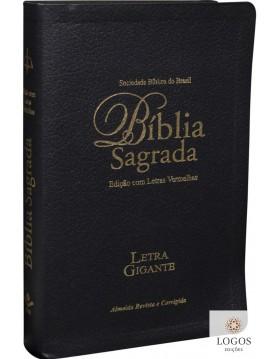 Bíblia Sagrada - letra gigante - capa preta com beiras douradas e índice digital. 7898521805692