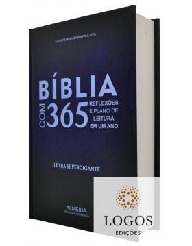 Bíblia com 365 Reflexões e Plano de Leitura - ARC - letra hipergigante - capa dura - azul. 9786586816211