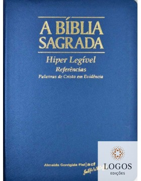 Bíblia Sagrada - ACF - hiper legível com referências - capa PU luxo - azul. 7898572201795
