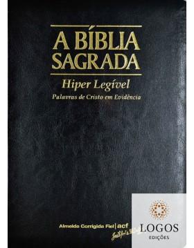 Bíblia Sagrada - ACF - hiper legível com referências - capa PU luxo - preto