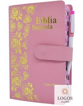Bíblia Sagrada - ARC - com Harpa Avivada e Corinhos - letra hipergigante -  carteira com caneta - rosa claro. 9786588364451