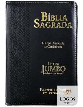 Bíblia Sagrada - ARC - letra jumbo - harpa avivada e corinhos - capa PU com fecho - estrela preta. 7908084605339