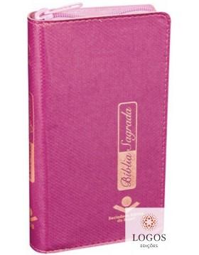 Bíblia carteira - capa pink com índice digital e fecho de correr. 7898521818760