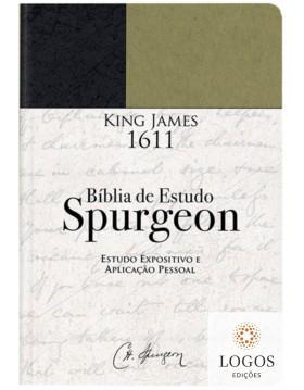 Bíblia de Estudo Spurgeon - King James 1611 - capa verde e preto. 9786586996296