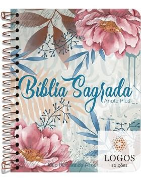 Bíblia Anote Plus - ARC - letra grande - capa espiral - flores e letras. 9786556551616