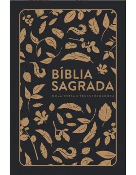 Bíblia Sagrada - NVT - capa semi-flexível com letra grande e beiras florais - soft touch - Folhas douradas